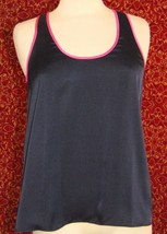 JUICY COUTURE Navy satin sleeveless tank blouse M (T41-03F8G) image 1