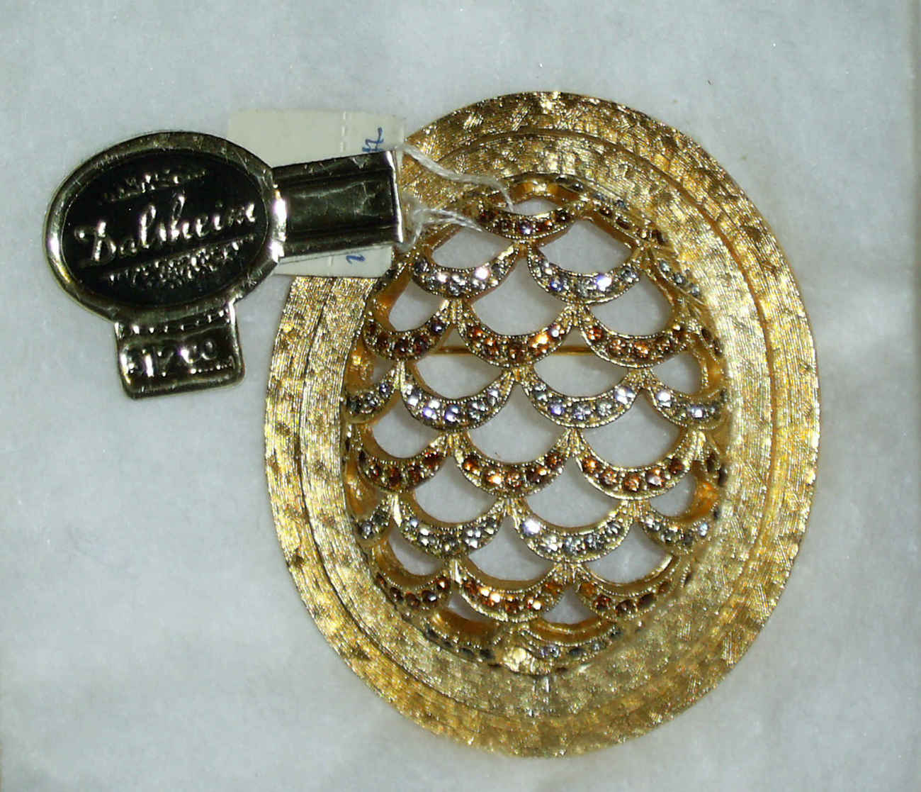 Primary image for Rare Dalsheim Brooch with Stick and Hang Tag - Rhinestones Gold Tone Open Work