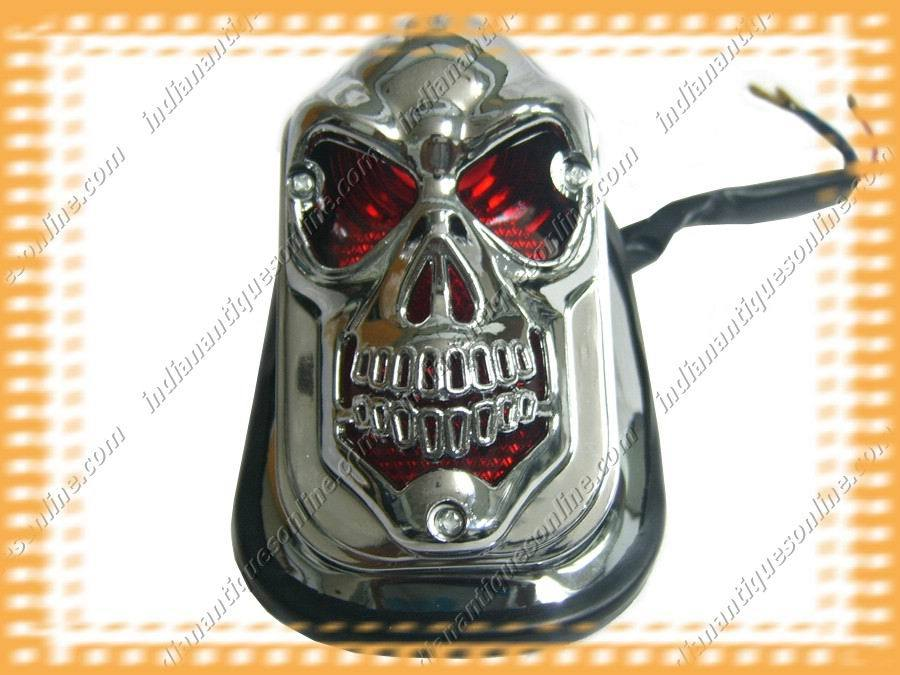 NEW MOTORCYCLE 3D SKULL REAR TAIL LIGHT COMPLETE ASSY~
