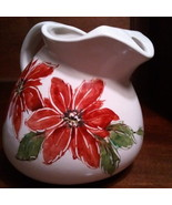 Friendship Pottery Pitcher Roseville Ohio Poinsettia Pattern Rundquist 2 Qt - $22.50