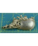 Vintage Signed A.J.C. Gold Toned Noah's Ark Ship Christian Pin Brooch - $13.43