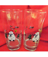 """Pfaltzgraff dinning Christmas water goblets """"Snow Village"""" set of two. - $19.98"""