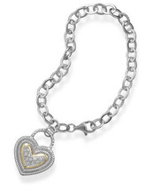 Bracelet with Silver and Gold CZ Heart - $159.99