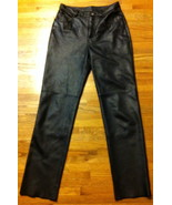 Pre-Owned Womens Black Leather Pants by Colebrook & Co. ~ Size 8 ~ Unhemmed - $70.00