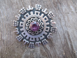 Vintage Mexican Alexandrite Brooch Sterling Sil... - $200.00
