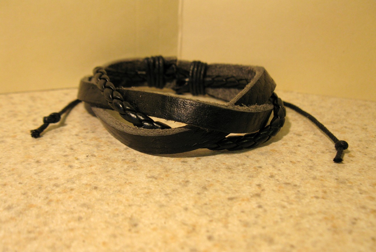 BRACELET MENS WOMENS UNISEX PUNK LEATHER BLACK LEATHER WEAVE