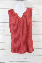 Talbots Petites Rust Ribbed Sleeveless Cotton Blend Sweater Size Medium ... - $14.01