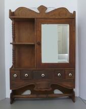 Antique Medicine Cabinet Drug Store Apothecary Large Wood Beveled Glass ... - $376.19
