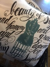 Pottery Barn Dress Form Pillow Cover Blue 18 sq Script Fashion Major Man... - $12.00