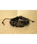 BRACELET MENS WOMENS UNISEX PUNK BLACK LEATHER WIDE OX BONE  - $9.99