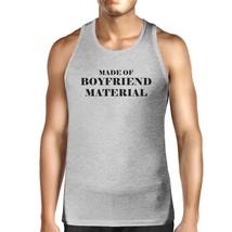 Boyfriend Material Mens Grey Tank Top Simple Design Cotton Tanks - $14.99