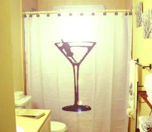 SHOWER CURTAIN Martini Glass olive toothpick drink chic