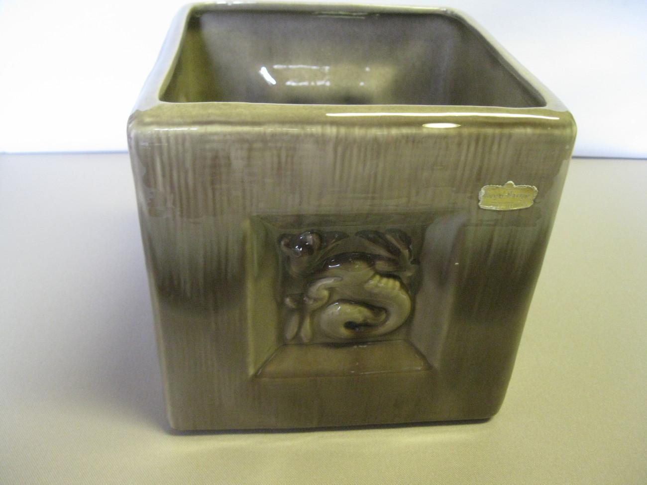 Vintage Royal Haeger Pottery Grey Cube Planter Pot R663 USA