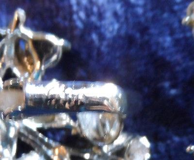 Vintage singed Coro Earrings bows ribbons rhinestones silver tone clip on