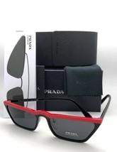 New PRADA Sunglasses SPR 19U YVH-5S0 58-18 145 Black & Red Frame w/ Grey Lenses - $439.95
