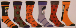 Naruto NEW 6 Pair CREW SOCKS SIZE 8-12 Bioworld Shippuden Collection - $19.45