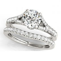 14K White Gold Fn RD Cut White CZ Diamond Solitaire With Accents Bridal Ring Set - $99.99