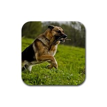 Cute Black German Shepherd Puppy Puppies Dog Pet Animal (Square) Rubber ... - $2.99