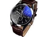 Splendid New Luxury Fashion Faux Leather Men Blue Ray Glass Quartz Watch Watches
