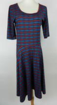 LuLaRoe L Womens Dress SS Red Blue Striped Geometric Scoop Neck Fit N Flare - $23.75