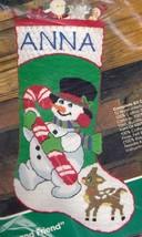 Bucilla Frosty and Friend Snowman Deer Longstitch Needlepoint Stocking Kit 60650 - $124.95