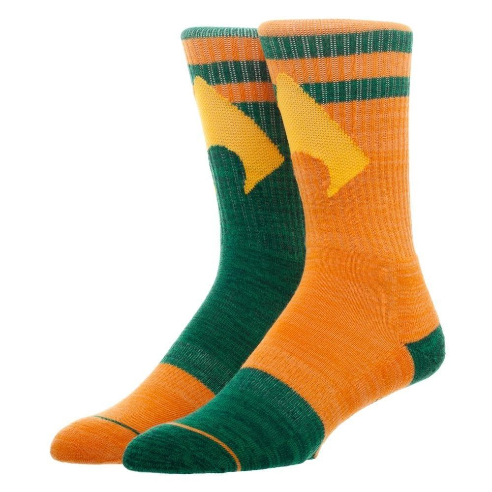 Aquaman Flipped Colors DC Comics Adult Athletic Crew Mens Socks Nwt