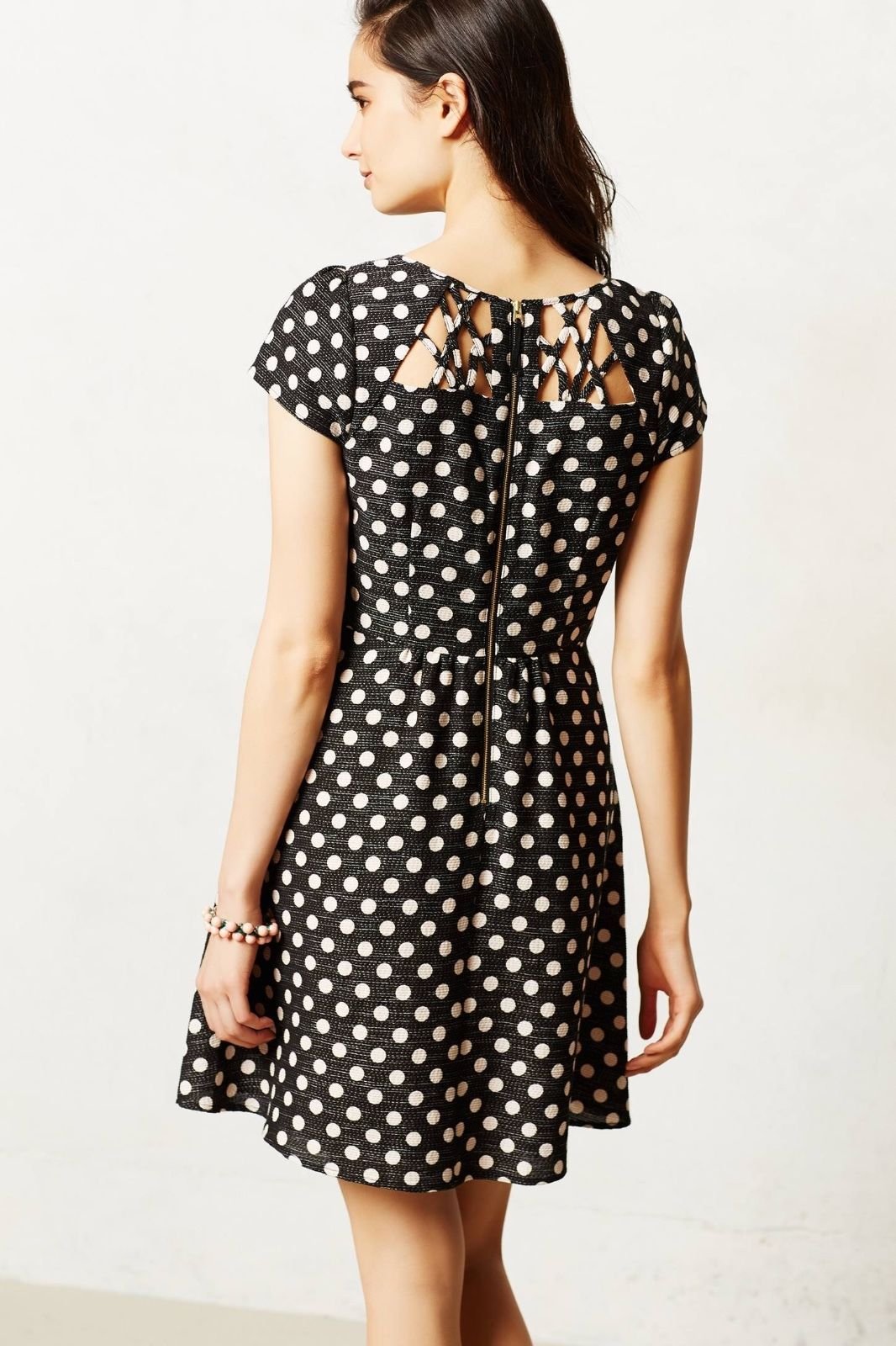 Anthropologie Maeve Nikola Lattice Dress Polka Dot Size 12  ASO Glee Quinn