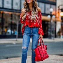 "hirigin blouse Women""s Off Shoulder flare Long sleeve red gorgeous flower Tops S - $34.50"