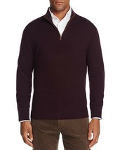 Nwot $225 Bloomingdales 100% Cashmere Raisin W Suede Trim 1/2 Zip Sweater 2XL - $37.13