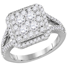 14k White Gold Round Diamond Cluster Bridal Wedding Engagement Ring 1-1/... - £1,738.55 GBP