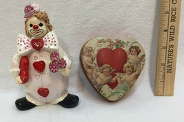 Adorable Valentine Set includes a Metal Trinket Tin and a Ceramic Clown ... - $18.80