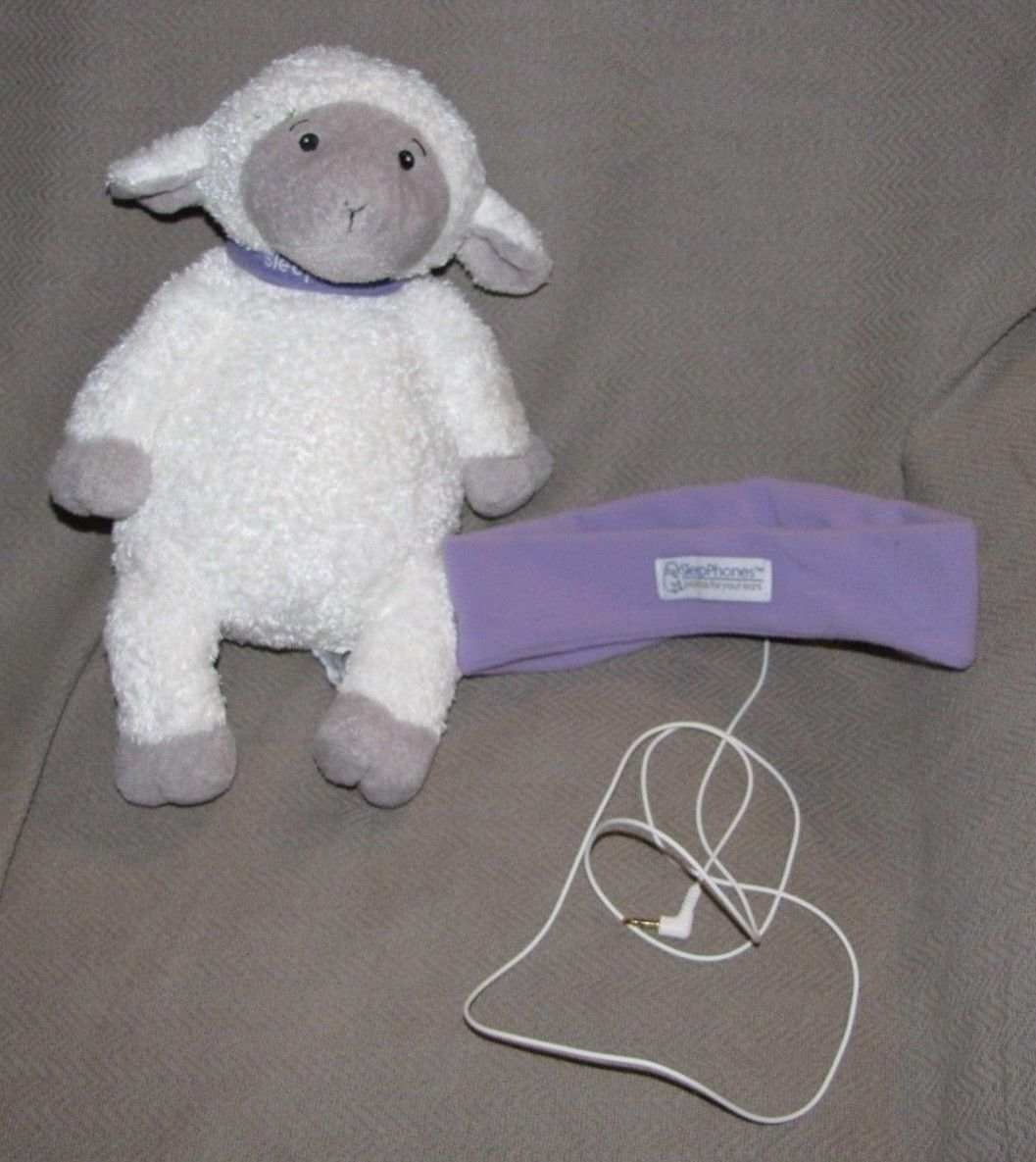 SLEEPPHONES SLEEP PHONES EAR LAVENDER PURPLE FLEECE LAMB SHEEP STUFFED PLUSH