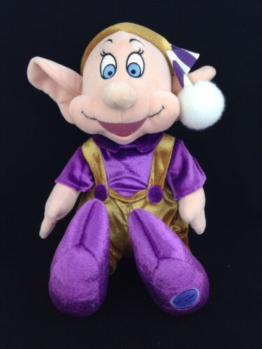 "Primary image for Disney Store Christmas Dopey Elf Dwarf 16"" Plush Stuffed Doll Purple Striped Hat"