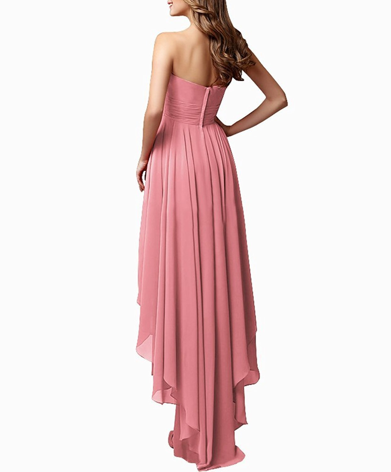 Women's Chiffon Sweetheart Hi-Lo Bridesmaid Dresses Evening Party Prom Gown 2018