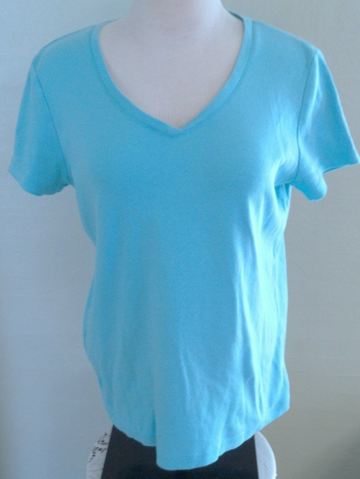 Primary image for St Johns Bay Top T Shirt M Medium Pullover Blue Short Sleeve Stretch
