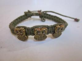 VINTAGE GREEN CORD 3 OWL CHARMS ADJUSTABLE BRACELET - $9.99