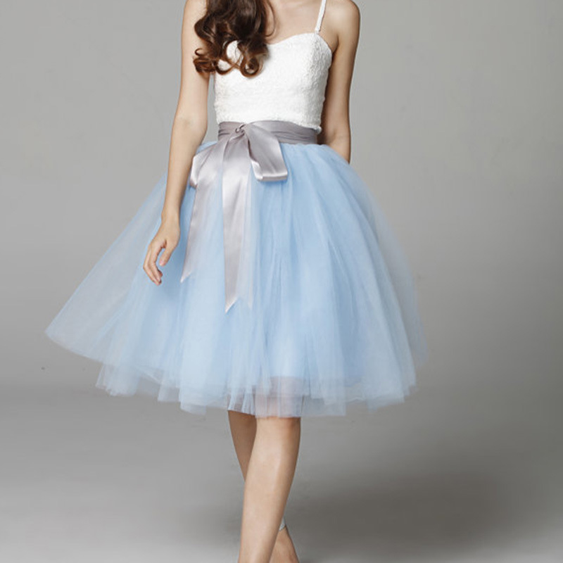 Light Blue Tulle Tutu Skirt 6-Layered Party Puffy Tulle Skirt Plus Size