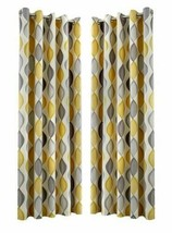 OGEE VERTICAL SWIRLS PATTERNED GREY FULLY LINED ANNEAU TOP CURTAINS 7 SIZES - $56.65