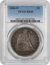 1846-O $1 PCGS XF45 - Popular New Orleans Issue - Liberty Seated Dollar - $1,076.70