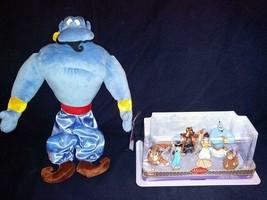 Disney Store Aladdin Plush 18 Inch Genie & Disney's Aladdin 6 Figurine Playset - $79.19
