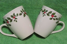 """CHRISTMAS CUPS white w/green holly leaves 4.25"""" tall 3.5"""" top diameter - $9.50"""