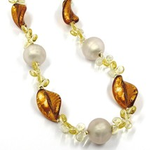 NECKLACE PETALS DROPS, SATIN SPHERE SPIRAL WAVE ORANGE YELLOW MURANO GLASS ITALY image 2