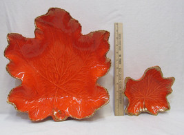 California Pottery Maple Leaf Bowls Bright Orange Gold LG & SM Vintage S... - $31.67