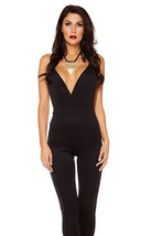 Forplay Olivia Plunging Scuba Bodycon Jumpsuit ~ Black, White or Beige - $27.99