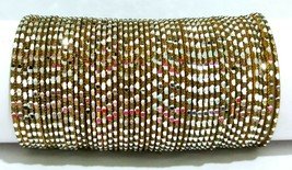 Indian Bollywood  Antique Gold Colored 48 Pcs Bangles Set Size 2.4 2.6 2... - $10.99