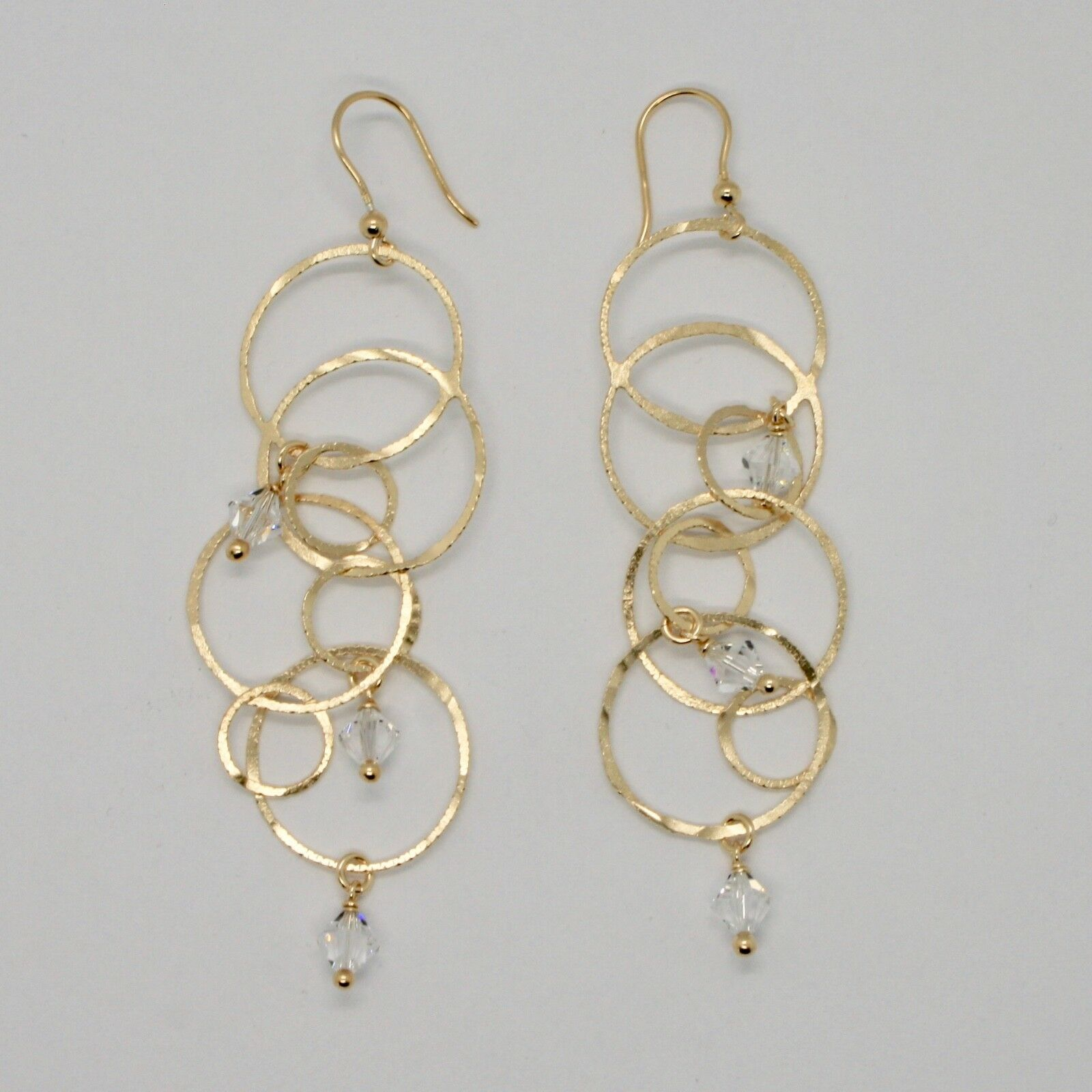 EARRINGS HANGING 925 SILVER LAMINA GOLD CIRCLES BY MARY JANE IELPO MADE IN ITALY