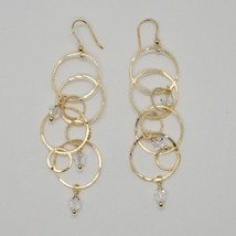 EARRINGS HANGING 925 SILVER LAMINA GOLD CIRCLES BY MARY JANE IELPO MADE IN ITALY image 1