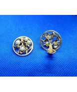 Vintage 14K Yellow Gold 9.1g and Pearl 21.6mm Tree-Of-Life Clip-On Earrings - $395.99