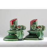 Green pottery holly salt pepper set 4 thumbtall
