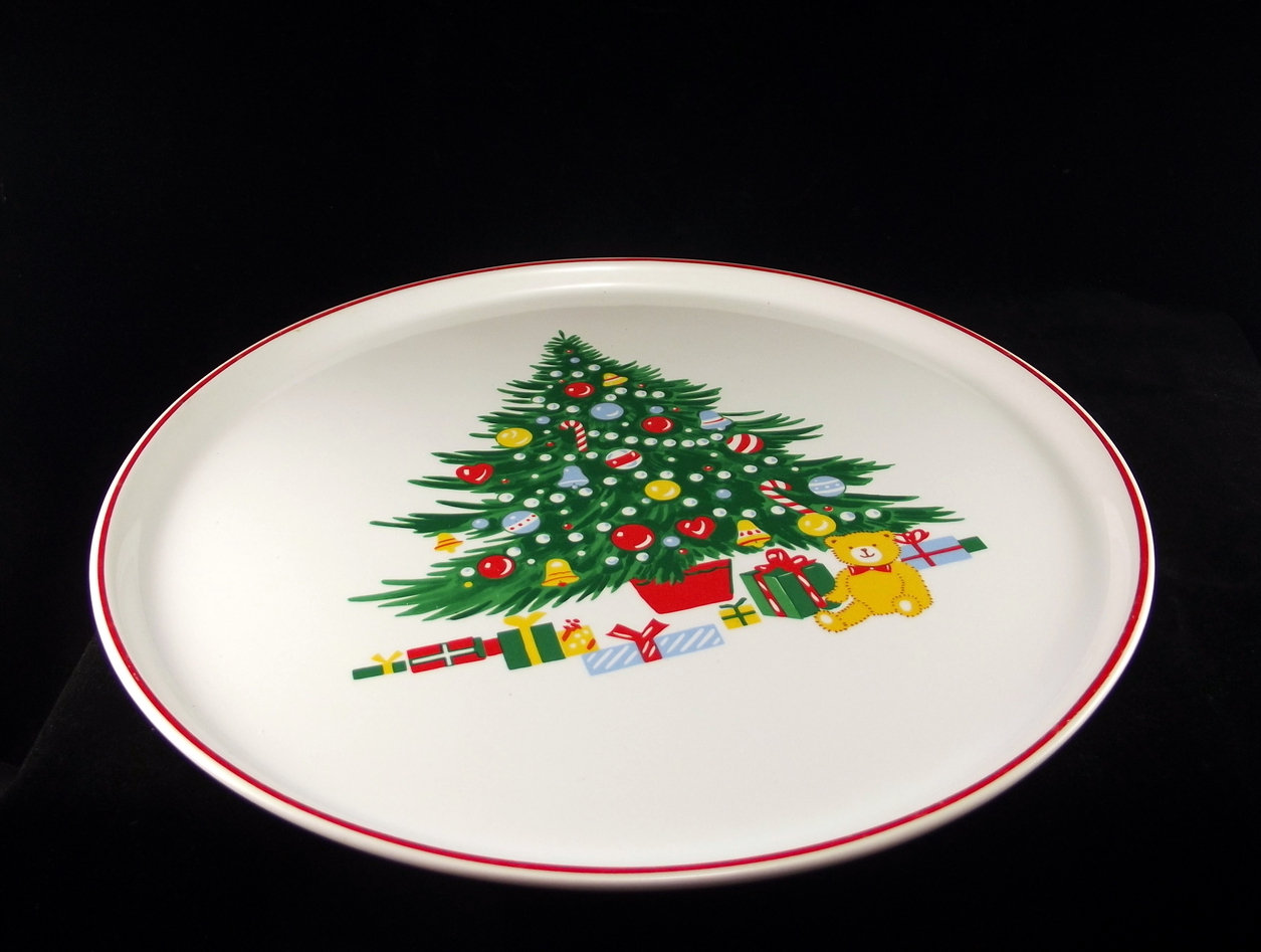 """Himark Happy Holidays stoneware 10.75"""" cake plate made in Japan vintage"""